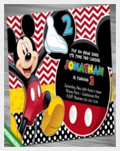 Sample Mickey, Invitation, Mickey Invitation, Polka Dot