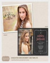 Senior Graduation Announcement Template for Photographers PSD Flat card - Chalkboard Frame