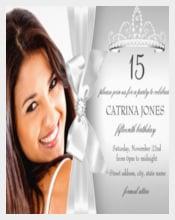 Silver Diamond Bow & Tiara Quinceanera Invite