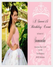 Sweet 16 or Quinceanera Invitation double sided