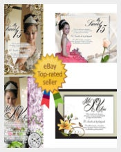 Ticket for Quinceaneras Invitations Template
