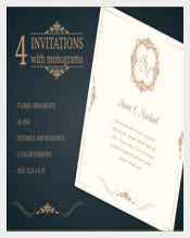 Wedding invitations with monograms