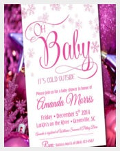 Winter Wonderland Baby Girl Shower Invitation card