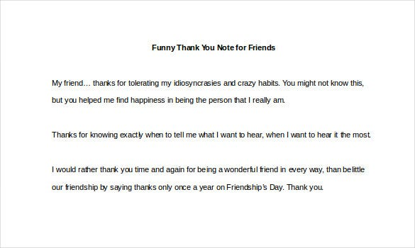 Thank You Note To Friend Free Download Friend Thank You Letter