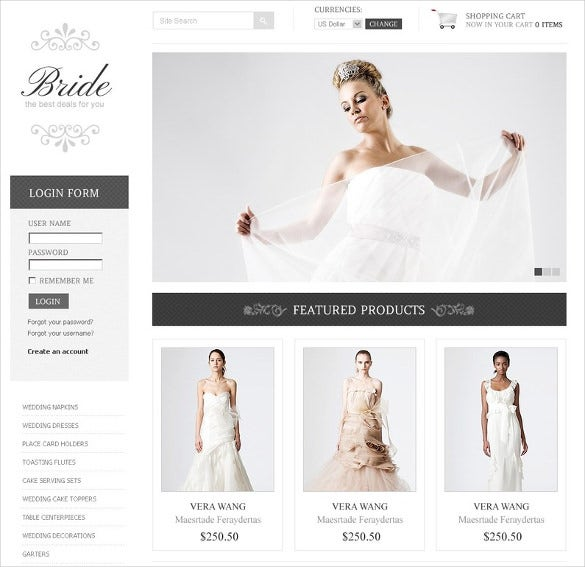 online werdding dresses virtuemart template