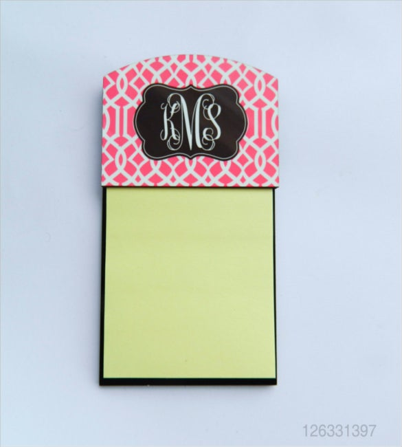 monogram sticky note sample template