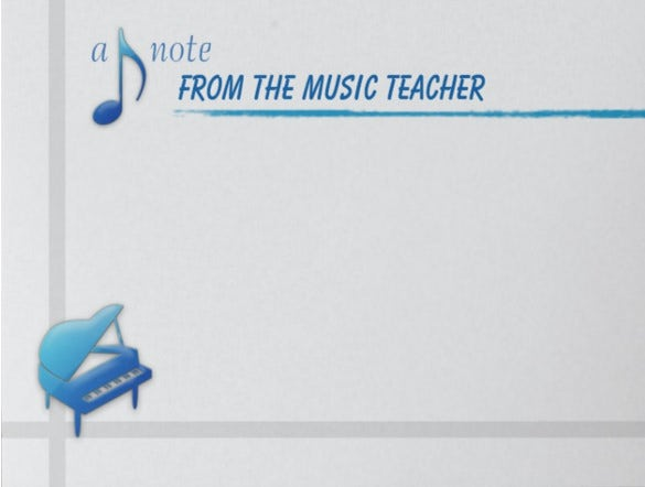 music teacher sticky note sample template