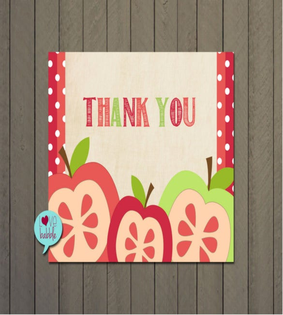 apple fall teacher thank you note card