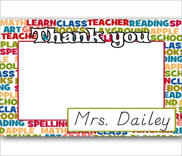 Thank You Notes For Teachers  Free Sample ExampleFormat