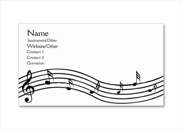 business card format musical note template