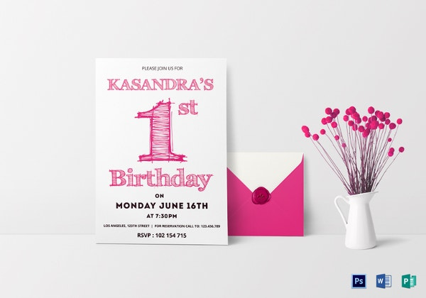 30 first birthday invitation templates free sample example 1st birthday party invitation card template stopboris Images