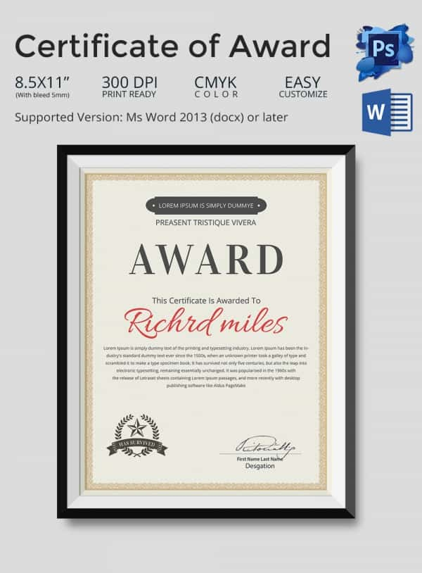 Editable Certificate of Award Template