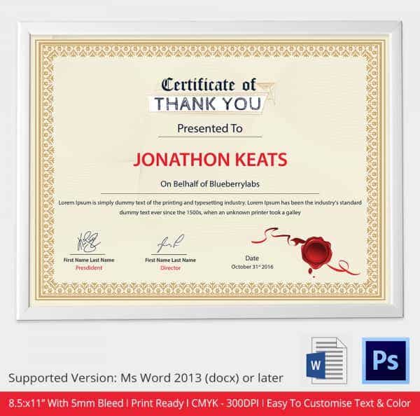 Thank You Certificate Template in Word Format