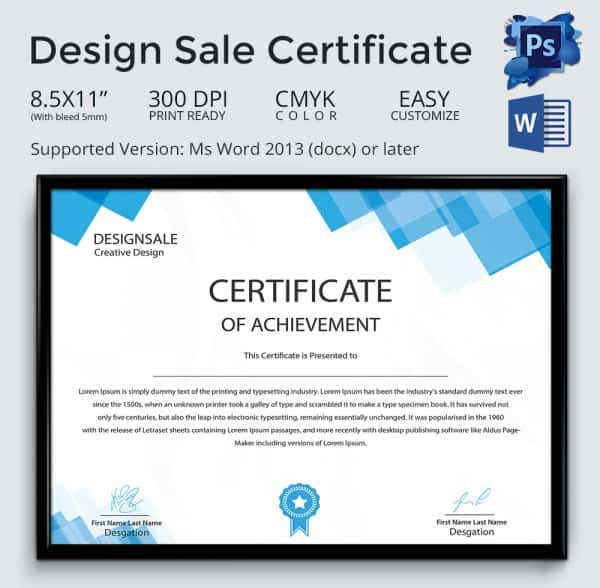 Design Sale Certificate Template in Word Format