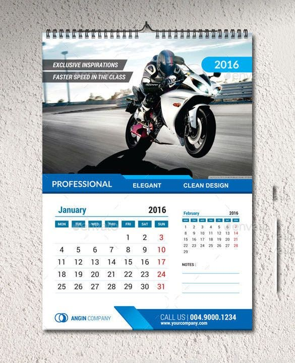 2016 wall calendar template ai illustrator format1