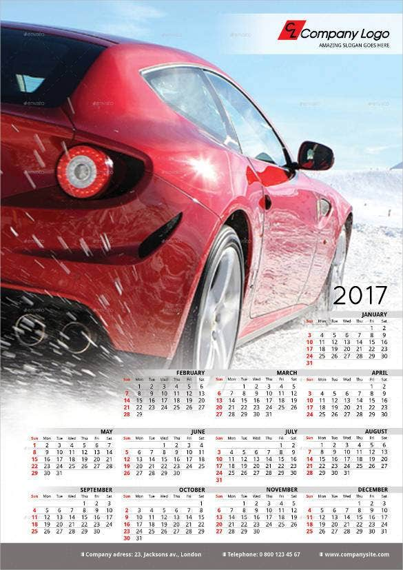 2017 poster calendar template indesign format1