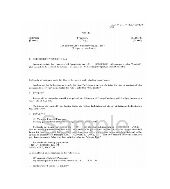 Mortgage Note Templates  Free Sample Example Format Download