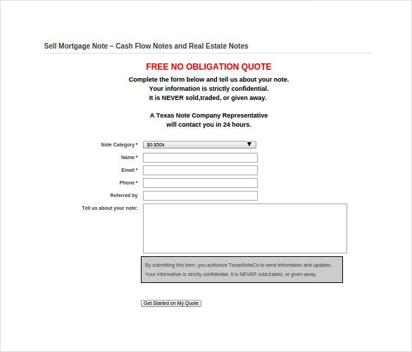 8  mortgage note templates  u2013 free sample  example  format