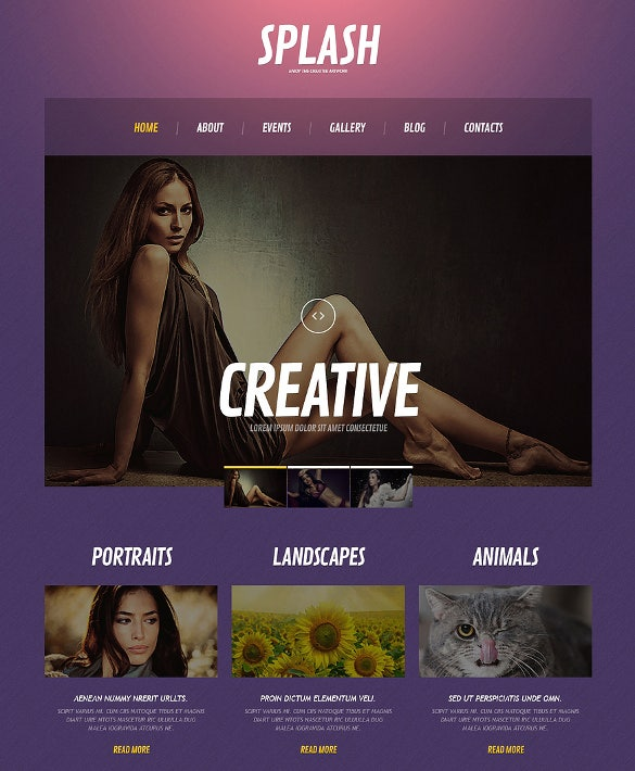 premium photography wordpress template