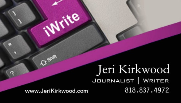 journalist author standard business card template2