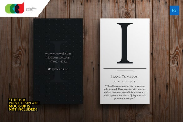 executive initial author business card template1
