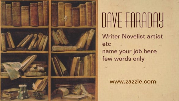novelist book writer author business card download