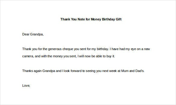 Thank You Note For Money Birthday Gift Example
