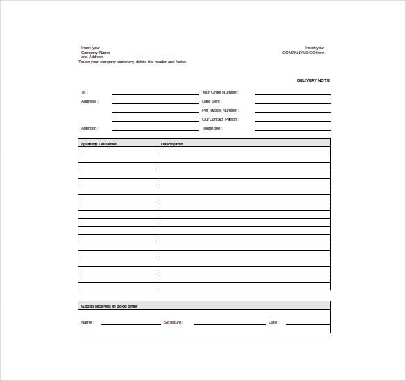 Goods Delivery Note Sample Word Template Free Download  Delivery Slip Template