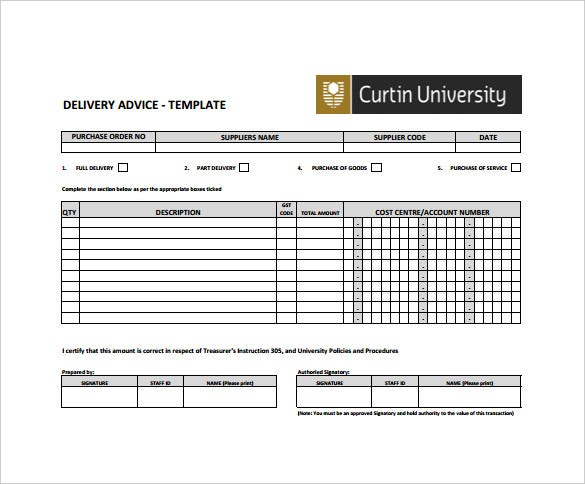 Sample Delivery Advice Note Template Free Download  Delivery Slip Template