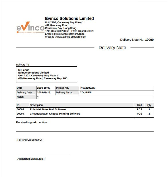 9 Delivery Note Templates Free Sample Example Format Download – Shipping Slip Template