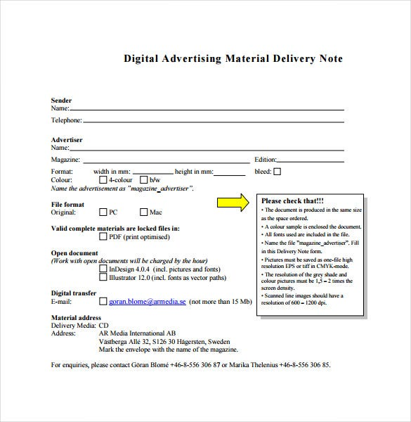 Digital Advertising Material Delivery Note Free PDF Format Download  Dispatch Note Template