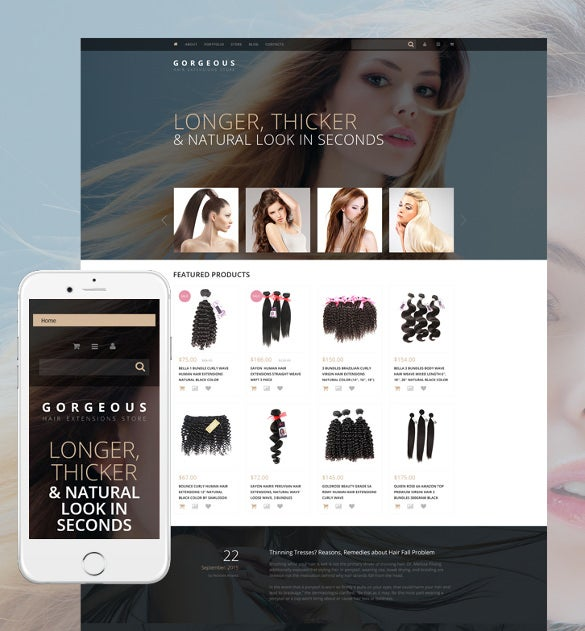 hair extensions woocommerce blog theme