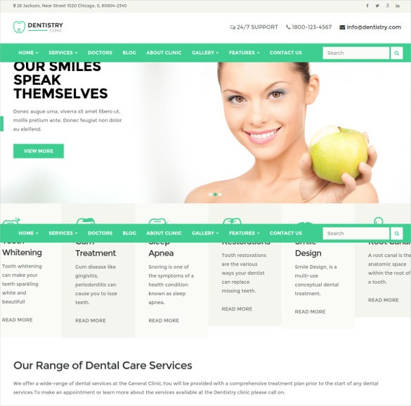 dental clinic wordpress html5 theme