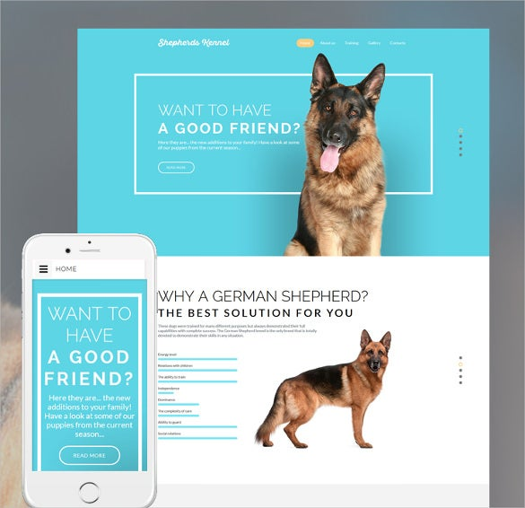 dog responsive website html5 template