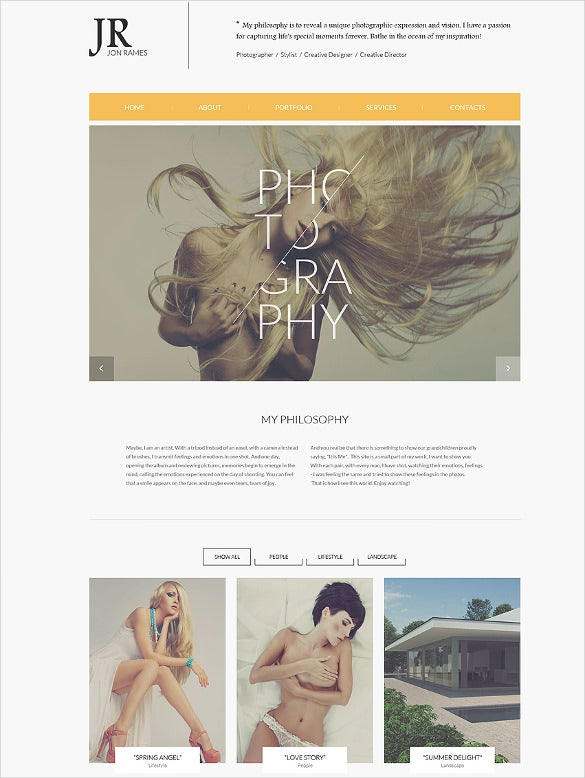 premium photography website template