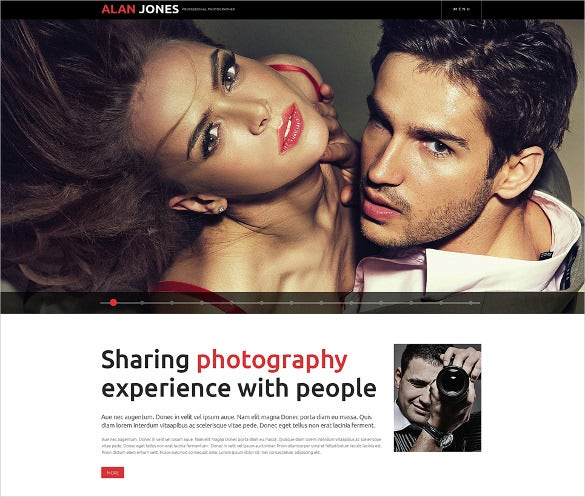 clen responsive photography website theme