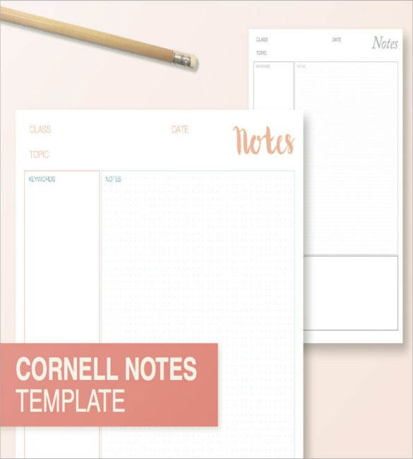 Cornell Notes Template U2013 Printable  Note Paper Template For Word