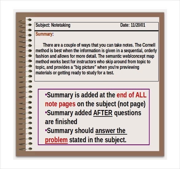 Cornell Notes Template For Mac   Free Wodr Excel Ppt Pdf