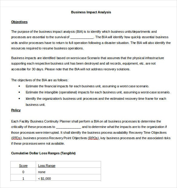 Business Impact Analysis Templates   Free Word Pdf Format