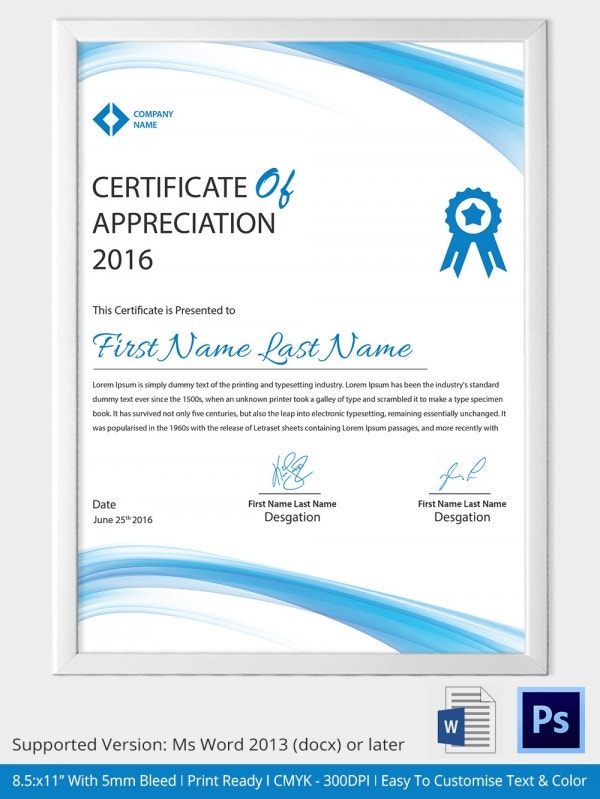 Print Ready certificate of Appreciation