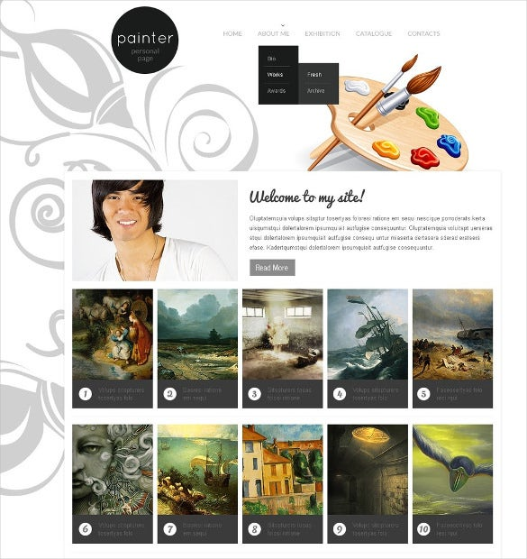 36 portfolio website themes templates free premium for Best art websites for artists