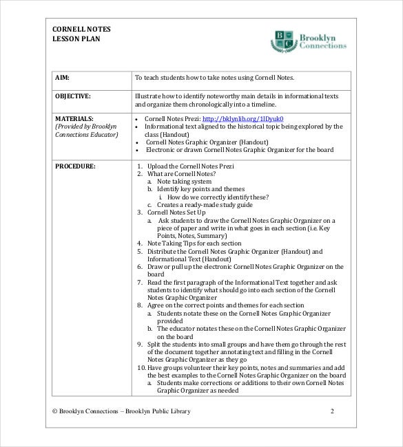 School Cornell Notes Template   Free Word Excel Pdf Format