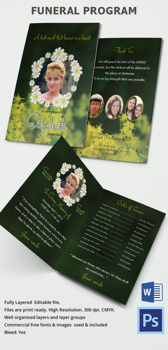 Elegant Green Background Funeral Brochure