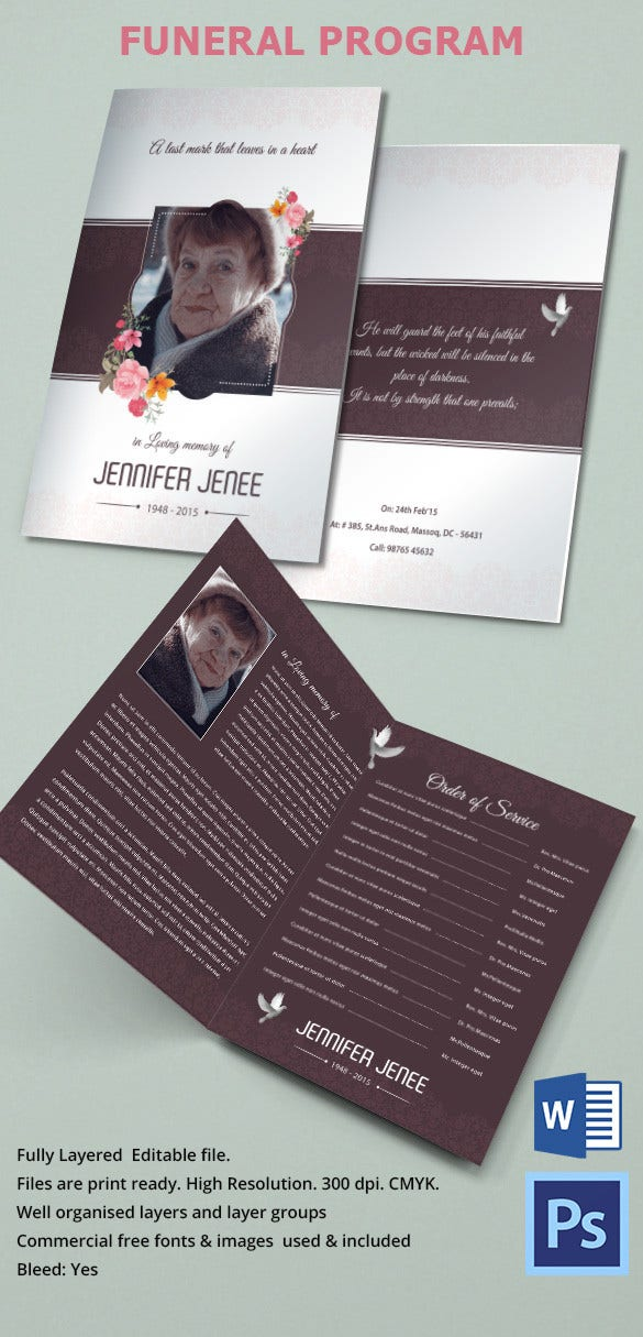 Floral Background Funeral Brochure