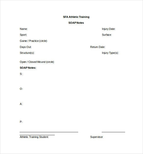 Soap Note Template  BesikEightyCo