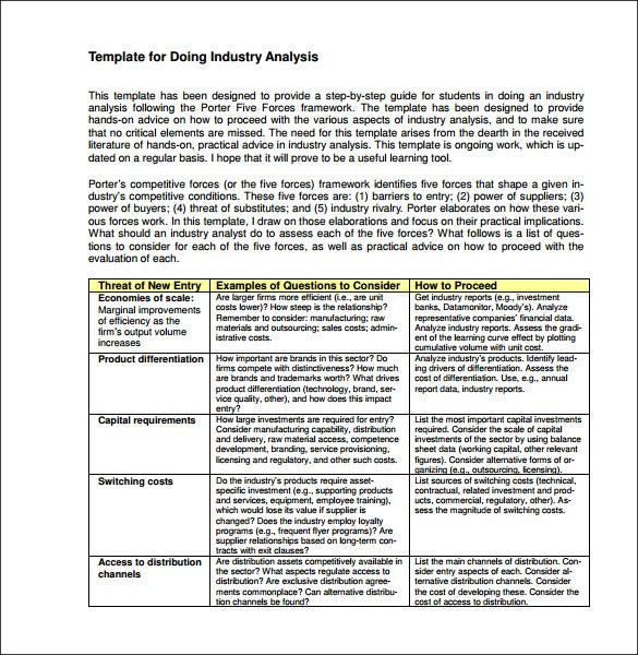 Industry Analysis Template - 11+ Free Word, PDF Format Download ...