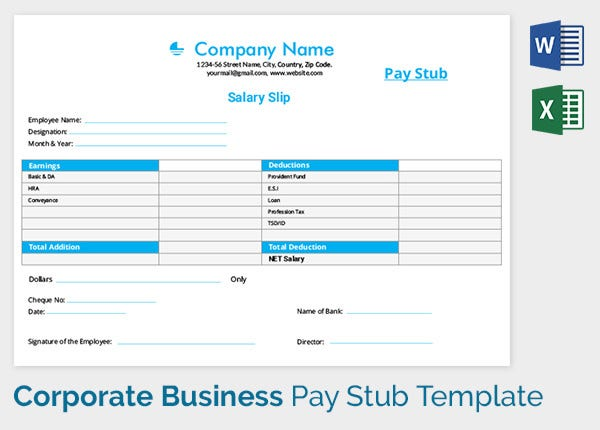 Corporate Business Salary Slip Template  Basic Payslip Template Excel Download