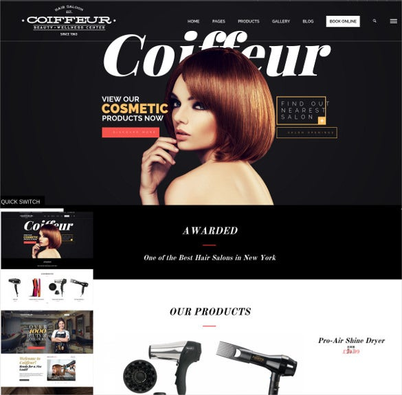 coiffeur hair salon wordpress theme