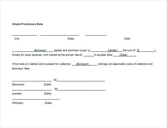 blank promissory note sample word template free downloads