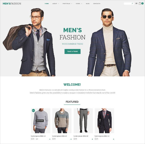 mens fashion woocommerce template